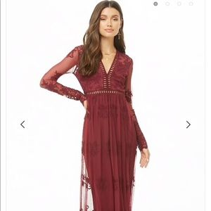 Sheer Embroidered Maxi Dress- Burgundy